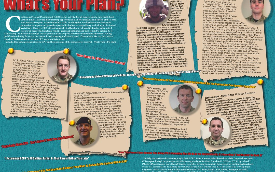 Have we assisted you with funding recently? Do you fancy sharing your story in the Sapper magazine? If so please phone 01634 822959 Mil: 94661 2959