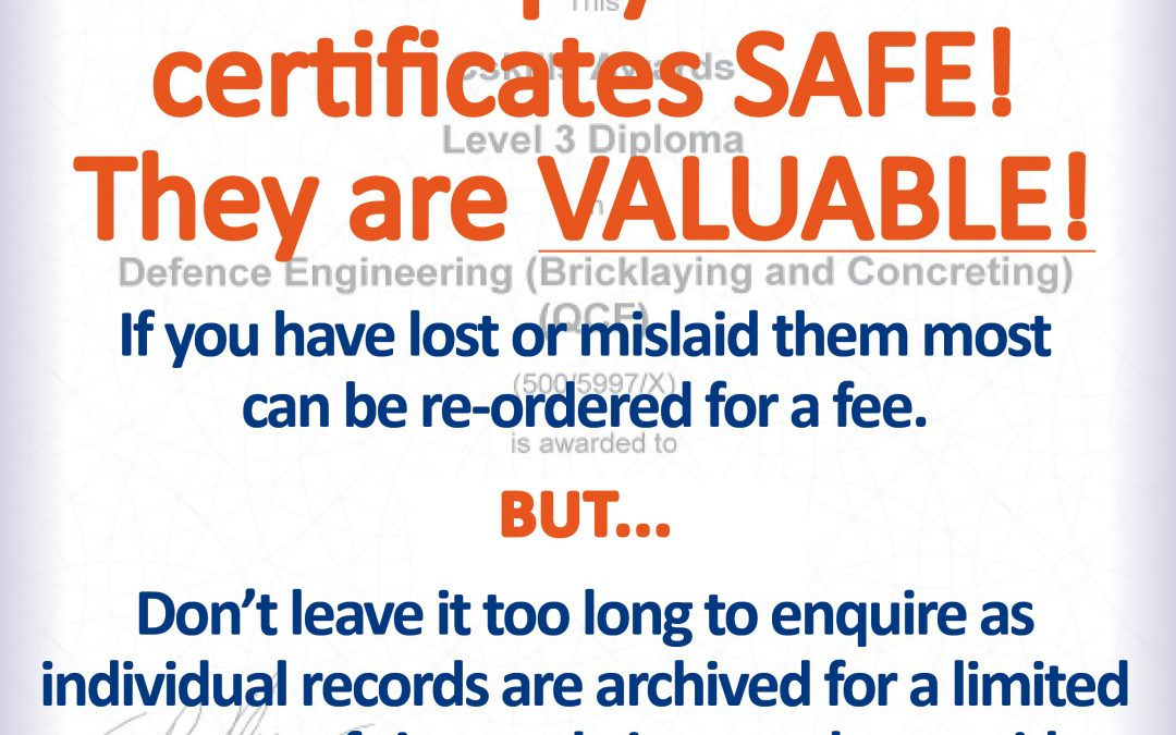 Keep your certificates SAFE! They are VALUABLE!